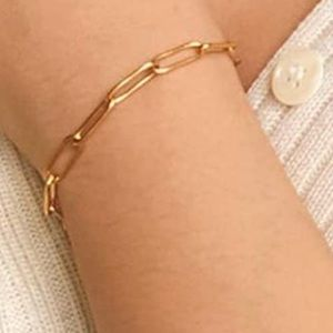 DAINTY GOLD FILLED PAPER CLIP CHAIN LINK BRACELET